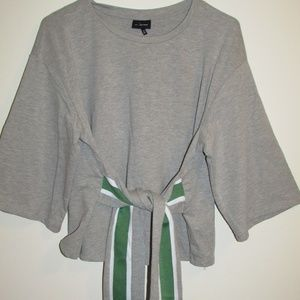 Who What Wear - Tie Front Slub Tee - Gray/Green M